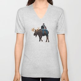 Drake Riding a Moose and Drinking a Tim Hortons Coffee Unisex V-Neck