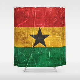 Vintage Aged and Scratched Ghana Flag Shower Curtain