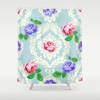 shabby chic Shower Curtains featuring Shabby Chic Rose Pattern by Figen Topbas