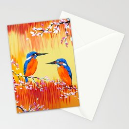 Kingfishers with red, orange and yellow Stationery Cards