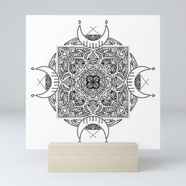 crescent moon mandala / black and white Mini Art Print