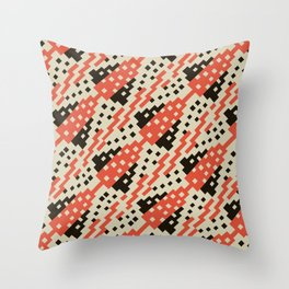 Chocktaw Geometric Square Cutout Pattern - Iron Oxide Throw Pillow