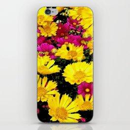 FUCHSIA PINK GARDEN YELLOW COREOPSIS FLOWERS iPhone Skin