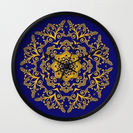 golden mandala pattern on the dark blue background Wall Clock