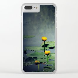 lily pads in the rain at Vernonia Lake Clear iPhone Case