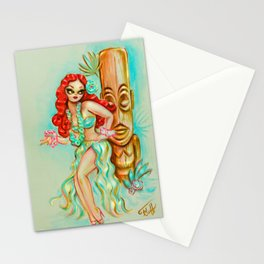 Redhead Hula Girl with Tiki Stationery Cards