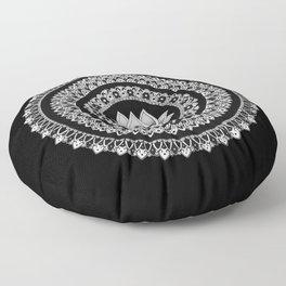 Black and White Lotus Mandala Floor Pillow