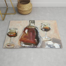 Cognac, alcohol, original oil painting Rug