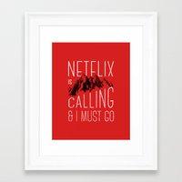 netflix Framed Art Prints featuring Netflix is calling by Zeke Tucker