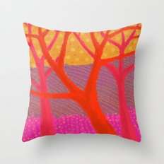 Three Red Trees Throw Pillow
