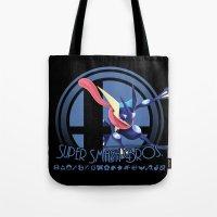 super smash bros Tote Bags featuring Greninja - Super Smash Bros. by Donkey Inferno