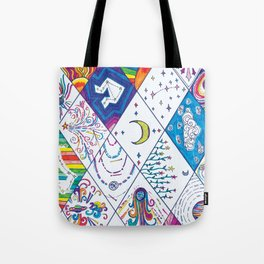 Rainbow Starstuff Universe and Galaxy Doodles Tote Bag
