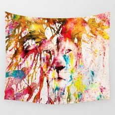 Wild Lion Sketch Abstract Watercolor Splatters Wall Tapestry