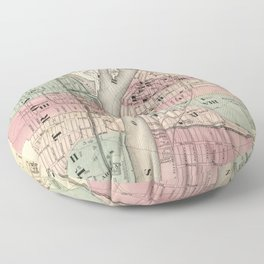 Vintage Map of Troy NY (1874) Floor Pillow