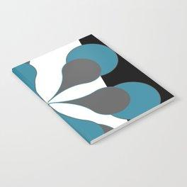 Mid-Century Modern Art 1.4B Grey Aqua Flower Notebook