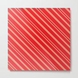 Modern Red & Gold Stripey Pattern Metal Print