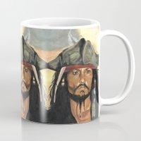 jack sparrow Mugs featuring Captain Jack Sparrow by marysiak