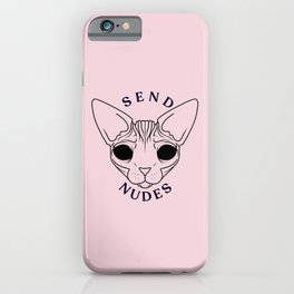 Rose Gold - Blush Pink - Alien Demon Eyes Hairless Sphynx Cat - Send Nudes - Funny Quote - Line Drawing Wrinkly Kitty iPhone Case