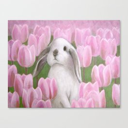 Bunny and Tulips Canvas Print