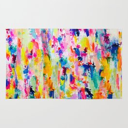 Bright Colorful Abstract Painting in Neons and Pastels Rug