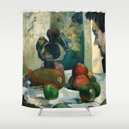 """Paul Gauguin """"Still Life with Profile of Laval"""" Shower Curtain"""