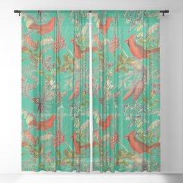 CARDINAL'S SONG - Green  Sheer Curtain