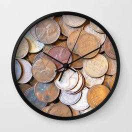 Watercolor Coins, Lincoln Wheat Pennies, 1939 03 Wall Clock