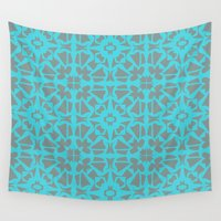 gray pattern Wall Tapestries featuring Turquoise and Gray Pattern  by xiari