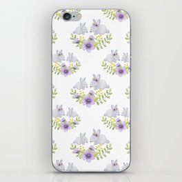 Purple lavender white bunny watercolor floral illustration iPhone Skin