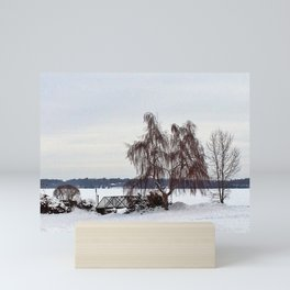 Weeping Willow on the Frozen Lake Mini Art Print
