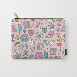 Patches Stickers 90's Doodle Unicorn Ice Cream, Rainbow, Hearts, Stars, Gemstones,Flowers Pink Carry-All Pouch