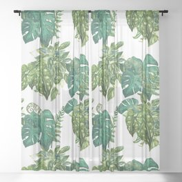 A Pattern of Plants Sheer Curtain