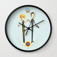 battlestar galactica Wall Clocks featuring Battlestar couple by Annalisa Leoni