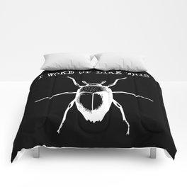 I Woke Up Like This (black background) Comforters