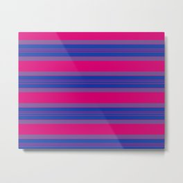 Bisexual Pride Varied Thicker and Finer Horizontal Stripes Metal Print