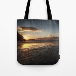 Sunset and wet sand at Worms Head Tote Bag