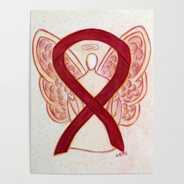 Burgundy Awareness Ribbon Angel Art Painting Poster