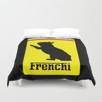 ferrari Duvet Covers featuring French Bulldog Ferrari  by Frenchie Fanatics