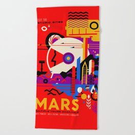 NASA Mars The Red Planet Retro Poster Futuristic Best Quality Beach Towel
