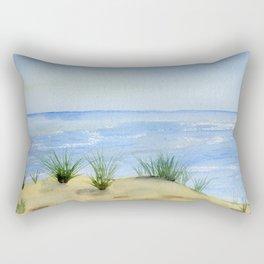 Dunes and Ocean Fine Art Watercolor painting Rectangular Pillow