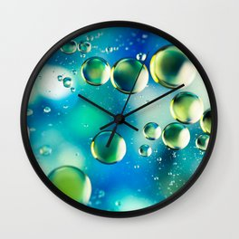 Macro Water Droplets  Aquamarine Soft Green Citron Lemon Yellow and Blue jewel tones Wall Clock