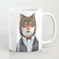 mr fox Mugs featuring Mr. Fox by Lucie Sperry