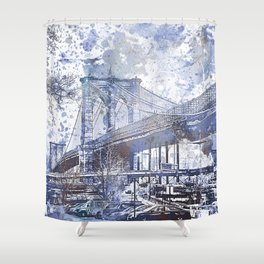 Brooklyn Bridge New York USA Watercolor blue Illustration Shower Curtain