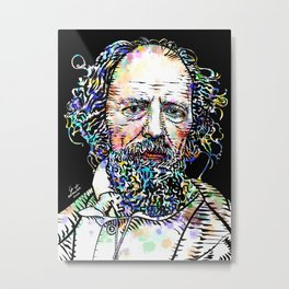 ALFRED,LORD TENNYSON watercolor and ink portrait Metal Print
