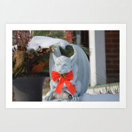 Dashing Gargoyle in Winter Snow - Dressed for the Holiday Season Art Print