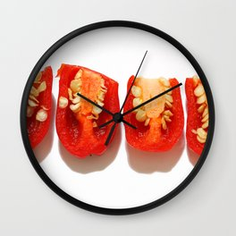 Sliced red peppers Wall Clock