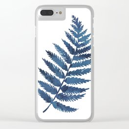 Blue watercolor fern Clear iPhone Case