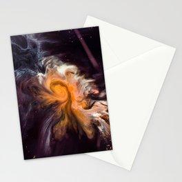 Orange Galaxy Effect Marble Stationery Cards