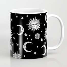 Linocut black and white sun moon and stars outer space zodiac astrology gifts Coffee Mug