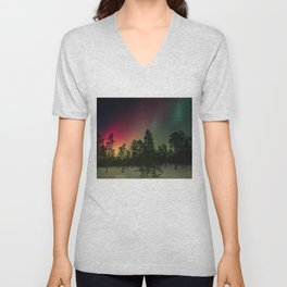 Rainbow colors of northern lights in pine forest at midnight Unisex V-Neck